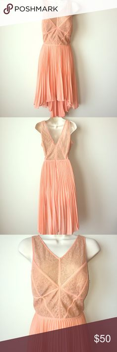 BCBG Pleated High Low Dress BCBG Pleated Dress. Great Condition! Color: Blush US Size 8. BCBG Dresses High Low