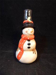 2 pc Ceramic Snowman Vase with Floral Pic Hat for floral arrangement EUC