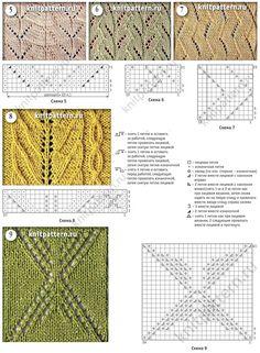 Схемы и фото, связанных спицами узоров с легкими ажурами. Страница 128.