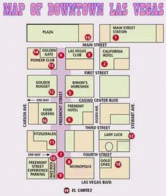 Vegas Strip and Downtown Map Las Vegas Blvd Las Vegas Nevada