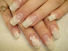 French nails with flowers Sexy Nail Art, Lace Nail Art, Elegant Nail Art, Elegant Nail Designs, Lace Nails, New Nail Designs, Sexy Nails, Nail Polish Designs, Beautiful Nail Designs