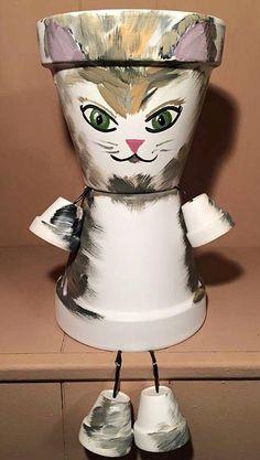 Cat Kitten Planter Pot Person People Garden Friend Animal Gift