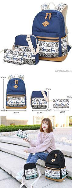 Folk Totem Deer Embroidery Splicing Large School Canvas Backpack for big  sale!  totem   356281d02237f