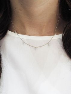 Round Baguette Stacked Diamond Necklace - b