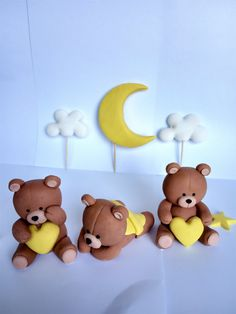 Fondant Teddy Bears with moon and clouds Cake Topper, Fondant Cake Topper for Birthday or Baby Shower, Personalised Fondant Cake Toppers, Fondant Figures, Fondant Cakes, Fondant Baby, Fondant Teddy Bear, Teddy Bear Cakes, Teddy Bears, Baby Shower Treats, Baby Shower Cakes