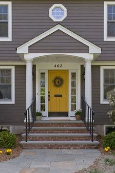 Front Door Paint Colors - Want a quick makeover? Paint your front door a different color. Here a pretty front door color ideas to improve your home's curb appeal and add more style! Grey Exterior, House Paint Exterior, Exterior Paint Colors, Exterior House Colors, Exterior Design, Grey Siding House, Brick Siding, Exterior Houses, Exterior Siding