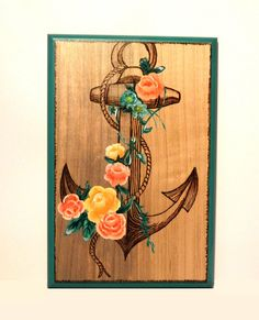 Hey, I found this really awesome Etsy listing at https://www.etsy.com/listing/175538862/anchor-with-flowers-hand-painted-and