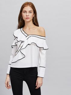 20f87b5b8c6 SheIn offers Contrast Trim Asymmetric Cold Shoulder Exaggerated Frill Blouse  & more to fit your fashionable needs.