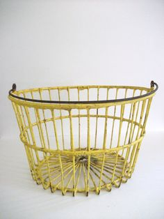 Yellow  Wire Egg Basket by RicsRelics on Etsy, $30.00
