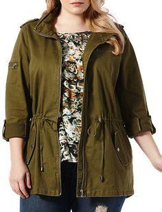 Plus Size Drawstring-Waist Jacket