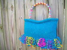 OOAK Hand Knit Turquoise Ruffle Handbag with by AnytimeAccessory, $59.99