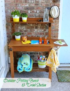 Potting bench style hutch used for outdoor living refreshment center pottery barn zinc top for World market beer garden table