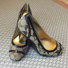 "Coach Wedges (BRN/GLD) New out of box coach signature c wedges brown gold. Heel 4"" Coach Shoes"