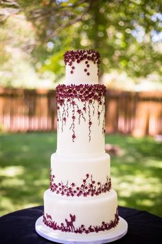 Burgundy Wedding by Kendra's Country Bakery - http://cakesdecor.com/cakes/250237-burgundy-wedding