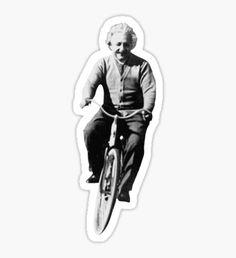 Albert Einstein on a Bike Sticker
