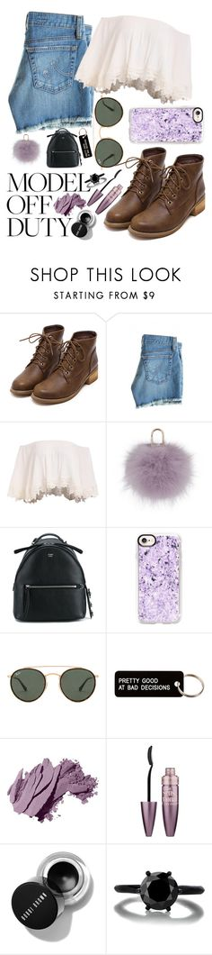 """model off duty"" by beingmyselfaf on Polyvore featuring AG Adriano Goldschmied, Yves Salomon, Fendi, Casetify, Ray-Ban, Various Projects, Bobbi Brown Cosmetics and Maybelline"