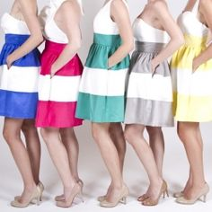 We're loving these sassy, striped bridesmaids dresses!