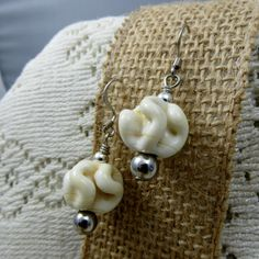 White Porcelain Beaded Drop Earrings Unique by fivedollarears