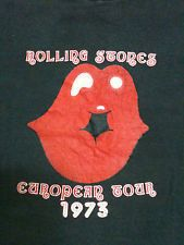 VTG SUPER RARE EARLY 70S 1973 ROLLING STONES T SHIRT DAVID BOWIE MICK JAGGER