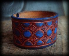 Hand Painted Recycled Leather Belt Cuff Bracelet by yuccabloom, $21.00