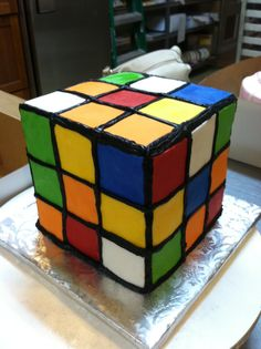 Rubics Cube cake for an '80's party
