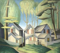 Lawren Harris: Summer Houses, Grimsby Park, Ontario (1926) via Artgallery of Nova Scotia