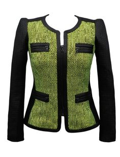 Yoana Baraschi Tweed Jacket in Black/Lime