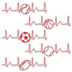 Electrocardiogram Heart Love Sports with Baseball, Basketball, Soccer, Tennis…