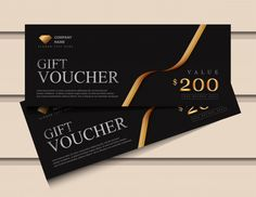 Gift Voucher Template With Glitter Gold Luxury Elements. Voucher Template Free, Gift Card Template, Gift Coupons, Shopping Coupons, Graphic Design Flyer, Flyer Design, Restaurant Vouchers, Gift Voucher Design, Coupons For Boyfriend