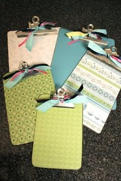 clipboard decorating tutorial (so easy- all you need is mod podge and decorative paper)