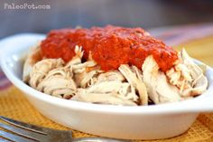 Pulled Garlic Chicken with Roasted Red Pepper Sauce
