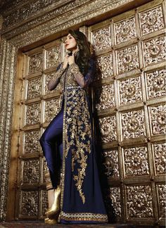 Blue Satin Patch Border Floor Length Salwar Kameez