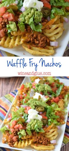 Waffle Fry Nachos | Delicious nachos made with lean meat, tons of veggies, and a homemade queso sauce, all over crispy waffle fries!