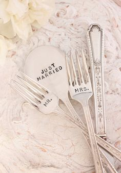 #1 something vintage [antique silverware turned into something new and special for the bride and groom to use on their wedding day!] #modcloth #wedding