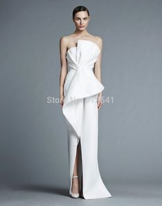 Aliexpress.com : Buy Charming Simple Style Sheath White/Ivory  Scalloped Pleated Bridal Dress New Arrival High Split Wedding Dress IDOW001 from Reliable dress valentine suppliers on idodress  | Alibaba Group