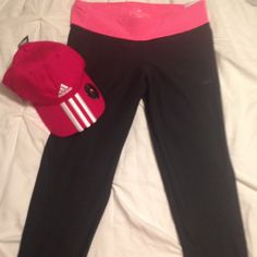 Adidas climate capri workout pants NWT Hot pink and black Adidas Capri pants are NWT. Had these for a couple of months and still haven't used them so they're yours now! Adidas Pants