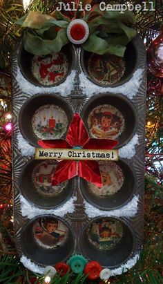 Christmas decoration from an old muffin tin