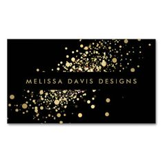 Faux Gold Confetti on Black Modern Business Card Pack Of Standard Business Cards