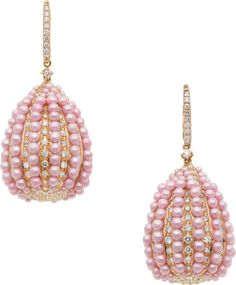 Cultured Pearl, Diamond, Pink Gold Earrings The earrings feature pink cultured pearls measuring 1.80 - 2.60 mm, enhanced by full-cut diamonds weighing a total of approximately 6.45 carats, set in 18k pink gold, completed by leverbacks.