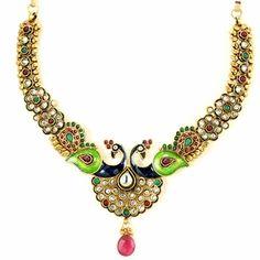 Sahina Necklace Set http://blossomboxjewelry.com/n1142.html# #polki #kundan #peacock trend #bollywood style indian #fashion