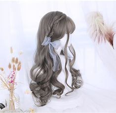 Lolita partial long curly hair wig - New Site Kawaii Hairstyles, Bun Hairstyles For Long Hair, Long Curly Hair, Pretty Hairstyles, Wig Hairstyles, Straight Hairstyles, Curly Hair Styles, Layered Hairstyles, Asian Hairstyles