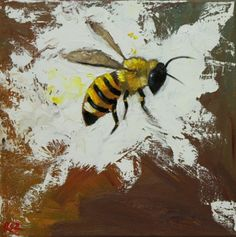 Bee painting 291 inch insect animal portrait original oil painting by Roz Beauty And The Bees, Side Portrait, Bee Painting, I Love Bees, Cute Bee, Bee Art, Bees Knees, Science Art, Back To Nature