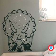 Keep smiling with this Triceratops wall decal for kids room - Dinosaur Theme Room, Dinosaur Wall Decor by E-Glue Design Studio