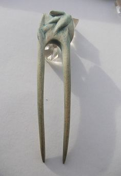 Winter hand  carved  hairfork by SiriusHairtoys on Etsy, $42.00