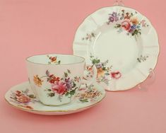 Royal Crown Derby Posies trio, cup, saucer, plate, multicolored flowers, gilt trim, made in England, mid century by CardCurios on Etsy Vintage High Tea, Vintage Teacups, Royal Crown Derby, Crown Royal, Multi Colored Flowers, Rose Buds, Bone China, Cup And Saucer, Tea Cups