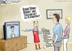 Borrowing a scene from the Brady Bunch featuring Jan, with all the other news out there, the media is obsessed with Russia. Cartoon by A.F. Branco ©2017.
