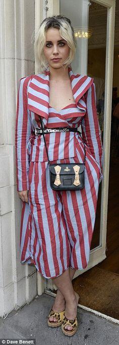 Serious stripes: Presenter Billie JD Porter (left) and singer Invader Girl (right) both ro...
