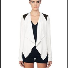 BB DAKOTA Blazer White lightweight blazer with perforated pleather shoulders. NWT BB Dakota Jackets & Coats