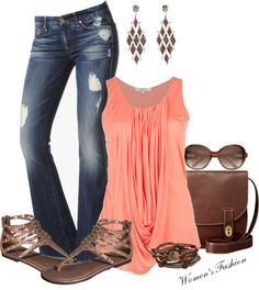 Coral flowing tank and dark-wash distressed jeans, neutral accessories = summer fun.