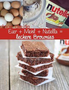 Dinge, die man aus nur 3 Zutaten machen kann superschnell & superlecker  1. Eier + Mehl + Nutella = leckere, saftige Brownies Lust auf super-saftige Brownies? Vermische einfach 2 Eier, 150 Gramm Nutella und 50 Gramm Mehlzu einem Teig. Danach muss der Teig in eine Back- oder Muffinform gegeb